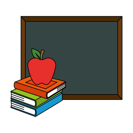 pile text books with chalkboard and apple vector illustration design