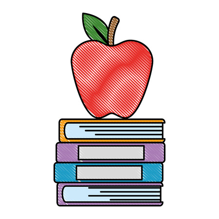 pile text books and apple vector illustration design