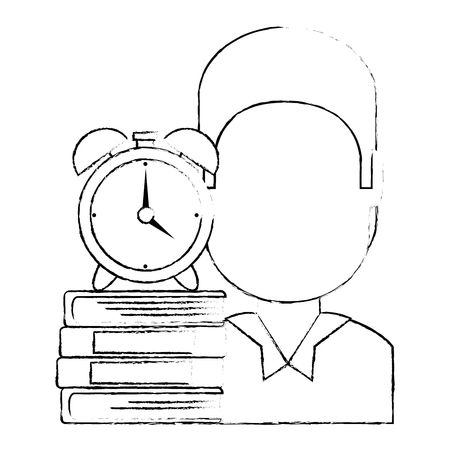 man with text books and alarm clock vector illustration design