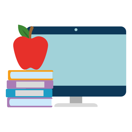 pile text books with apple and computer vector illustration design