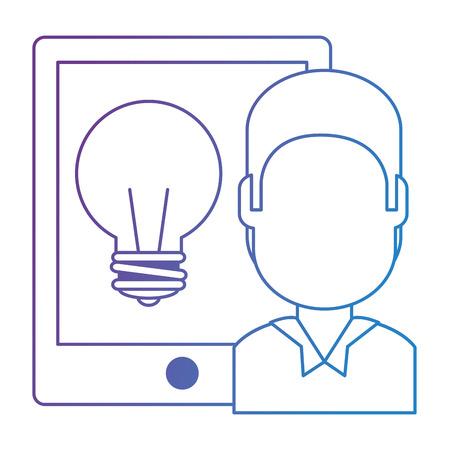 man with tablet electronic and bulb vector illustration design Illusztráció