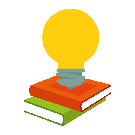 pile text books with bulb vector illustration design