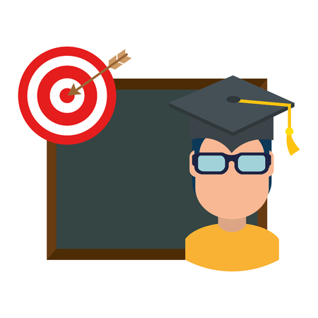 student graduated with chalkboard and target vector illustration design Ilustrace