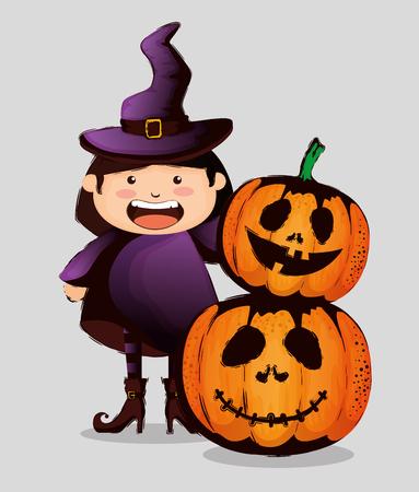 happy halloween card with little witch vector illustration design Standard-Bild - 110360918