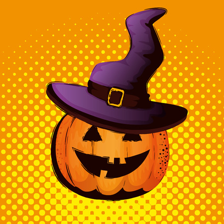halloween card with pumpkin and hat witch vector illustration design