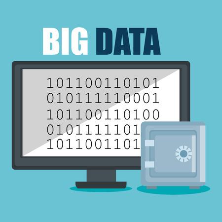 desktop computer with big data icons vector illustration design