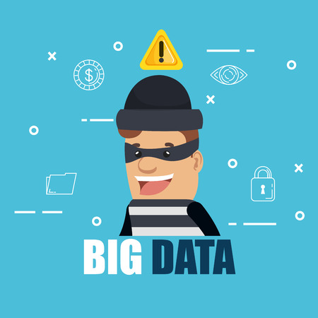 cyber thief with big data icons vector illustration design