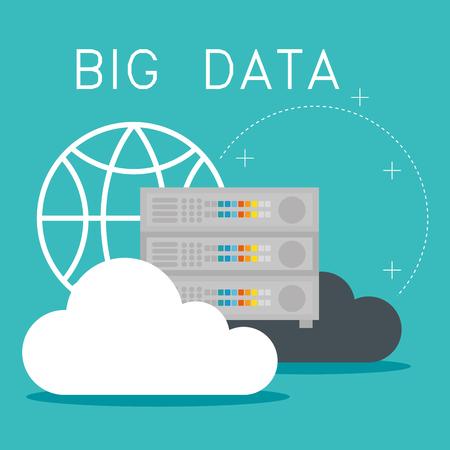 cloud computing with big data icons vector illustration design Illusztráció