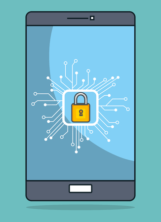 smartphone with data center icons vector illustration design