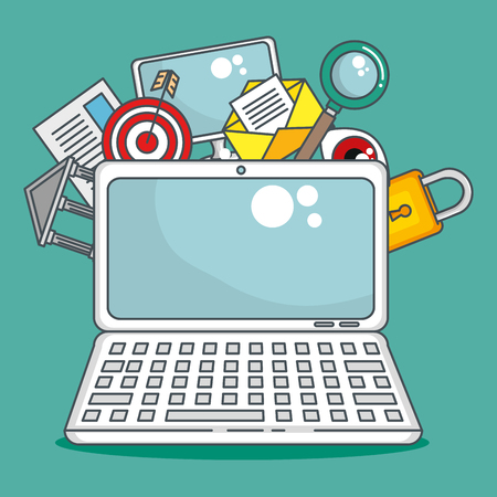 laptop computer with data center icons vector illustration design