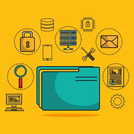 folder with data center icons vector illustration design