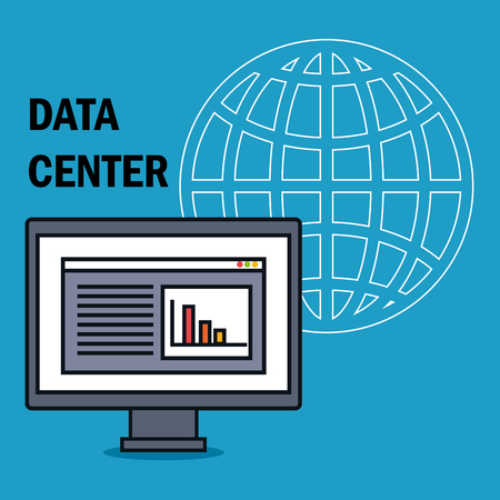 desktop computer with data center icons vector illustration design Illusztráció