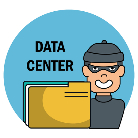 cyber thief with data center icons vector illustration design Stock Illustratie