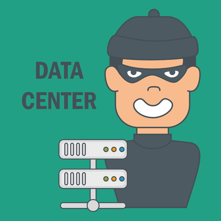 cyber thief with data center icons vector illustration design Illusztráció