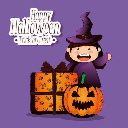 happy halloween card with little witch vector illustration design Standard-Bild - 110360992