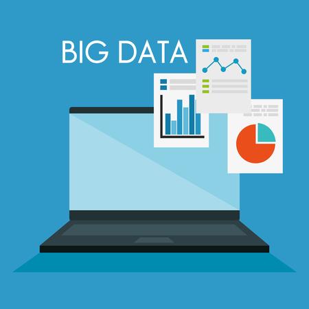 laptop computer with big data icons vector illustration design Illusztráció