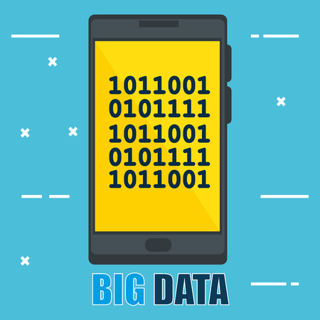 smartphone with big data icons vector illustration design