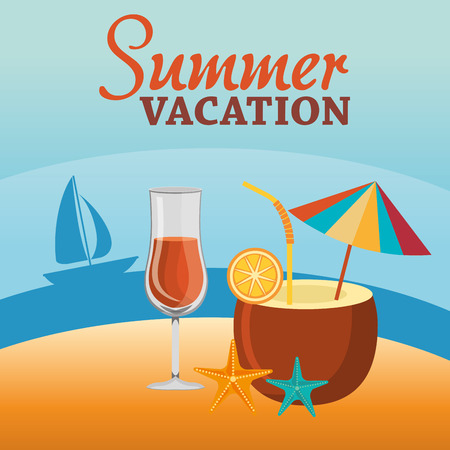 summer vacations beach with icons vector illustration design