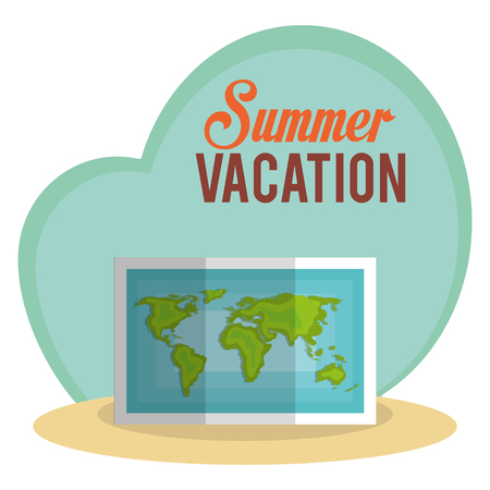 summer vacations with paper map vector illustration design
