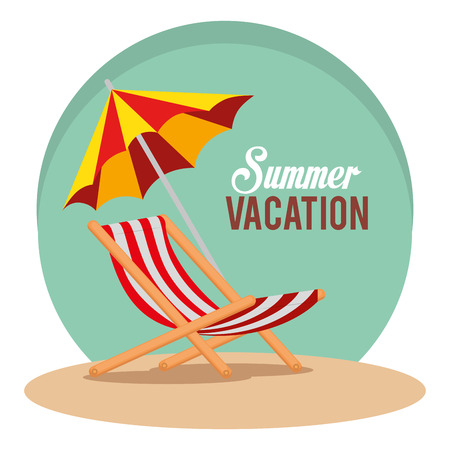 summer vacations with beach chair vector illustration design