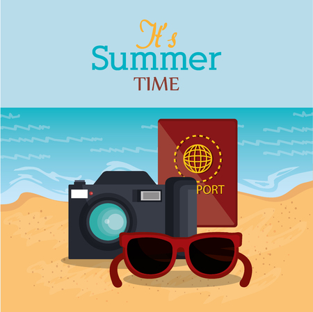 summer time beach with icons vector illustration design