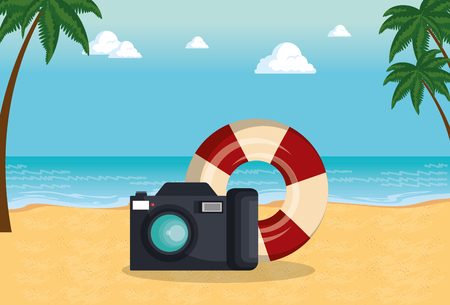 summer time with camera and float vector illustration design