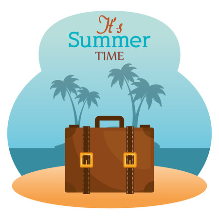 summer time with suitcase vector illustration design  イラスト・ベクター素材