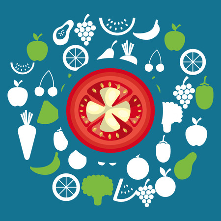 group of vegetables and fruits vegetarian food vector illustration design