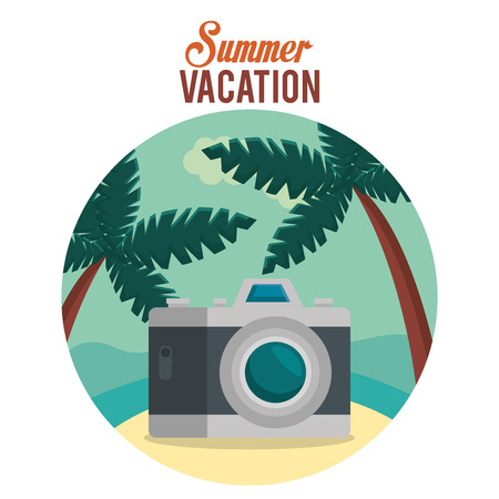 summer vacations with camera photographic vector illustration design