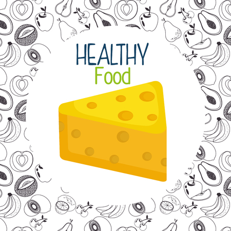 delicious cheese healthy food vector illustration design  イラスト・ベクター素材