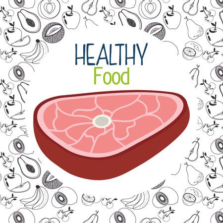 delicious beef meat healthy food vector illustration design
