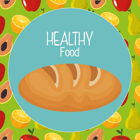 delicious bread healthy food vector illustration design Çizim