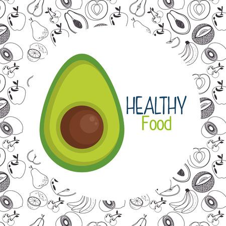 fresh avocado vegetarian food vector illustration design
