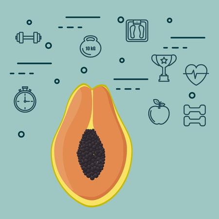 fresh papaya vegetarian food vector illustration design