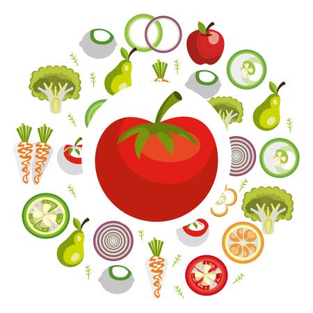 group of vegetables vegetarian food vector illustration design Illustration