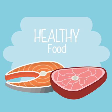 delicious salmon and beef meat healthy food vector illustration design