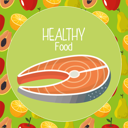 delicious salmon meat healthy food vector illustration design