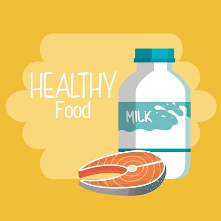 delicious milk bottle healthy food vector illustration design