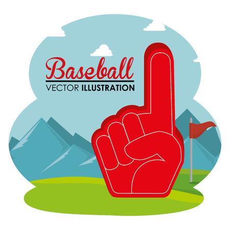 baseball sport glove number one vector illustration design Stock Vector - 107587899