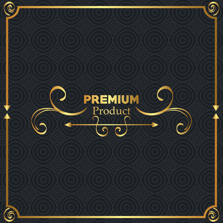 premium quality golden frame vector illustration design