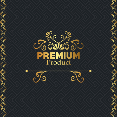 premium quality golden frame vector illustration design