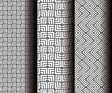set geometrics figures in grey patterns vector illustration design