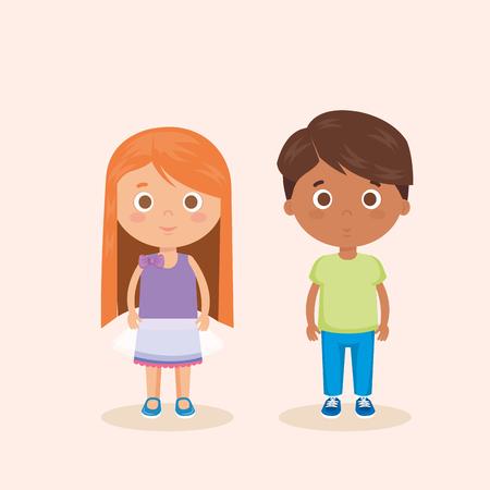 couple little kids characters vector illustration design