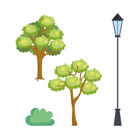 park scene set icons vector illustration design