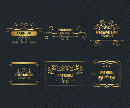 set premium quality golden frame vector illustration design