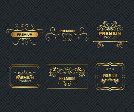 set premium quality golden frame vector illustration design