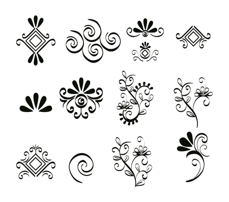 set victorian and floral monochrome icons vector illustration design