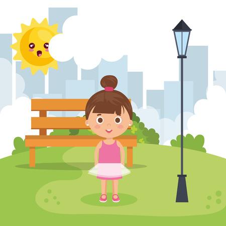 little girl in the park vector illustration design
