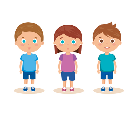 group of little kids characters vector illustration design Ilustração