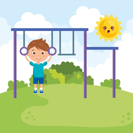 little boy in the park character vector illustration design